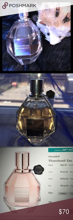 Victor&Rolf Flowerbomb 3.4 oz Eau de Parfum Top notes of sweet bergamot and green tea, heart of floral: jasmine, centifolia rose, freesia and orchid.  Undertones of musk and patchouli.  Purchased for $165 at Nordstrom, at least 85% of product remains- see pic for fluid level.  This is a classic and sticking around!  The florals are not cloying or powdery but light and airy- scent lasts all day.  The musk is very subtle so it is a clean, sexy fragrance!! Victor&Rolf Other