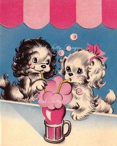 Puppy Love Over Soda Vintage Greetings Card by poshtottydesignz