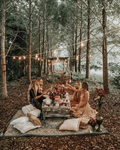 Boho picnic setting starring our gorgeous whitewashed coffee table, ladder arbour, marcrame hanging, blush pink napkins and crystal glassware under a canopy of fairy lights. Perfect for a wedding or event! Glamping, Forest Fairy, Van Life, Summer Vibes, Tea Party, Backyard, Places, Picnics, Goals