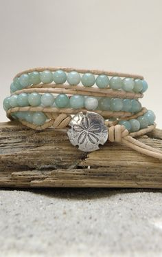 Amazonite  Natural Leather Wrap Bracelet,  $42.99, via Etsy.