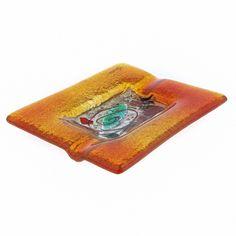 Rectangular Ashtray, Handmade Fused Glass Decorative Ornament, Orange Frame Opera Design 16cm (6.3'') Orange Color Shades, Kai, Smoking Accessories, Garden Table, Color Blending, Drink Coasters, Decoration, Fused Glass, Bag Making
