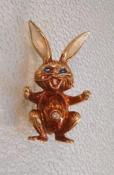 14k Gold Rabbit or Bunny Pin with Diamond and Enamel from Charmed Life Collectibles