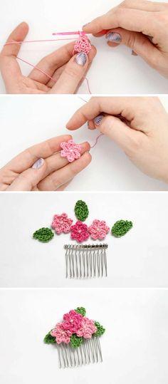 Make: Crochet Flower Hair Combs