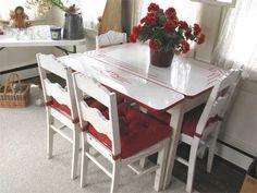 Red trim enamel table