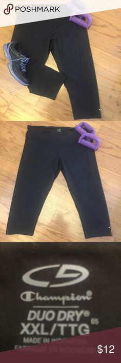 💜Champion Duo Dry, active wear Capri pants 👖 💜 Champion Duo Dry, active wear... workout Capri pants. 88% Polyester, 12% Spandex. Size XXL.. Made in Indonesia 🇮🇩 EUC!!! worn a few times! Color is black. Champion Pants Capris