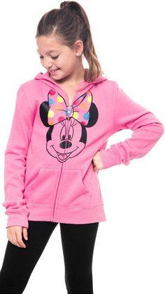 Disney Girls Minnie Mouse Hoodie Zip Jacket Pink Small
