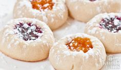 Jam Thumbprint Cookies Buttery Jam Thumbprint Cookies by chewoutloud: Tiny jammy biscuits. Buttery Jam Thumbprint Cookies by chewoutloud: Tiny jammy biscuits. Best Holiday Cookies, Holiday Cookie Recipes, Holiday Baking, Christmas Baking, Holiday Treats, Menu Desserts, Just Desserts, Delicious Desserts, Dessert Recipes