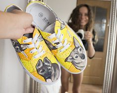 Yellow painted shoes with doggy. Painting shoes dog. Funny dogs on canvas shoes. Personalised shoes