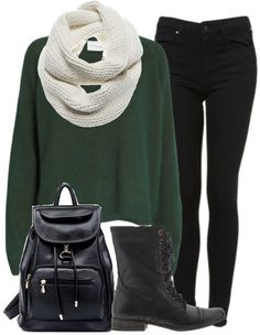 Eleanor Calder Inspired Outfit for Studying with Friends Jumper / Jeans / Boots / Scarf / Backpack