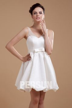 Wholesale V Neck Beading Short Bridal Gown Wedding Dress(Plus size available) - DressBulk.COM