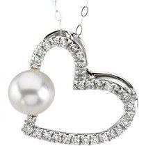Freshwater Cultured Pearl & Diamond Pendant