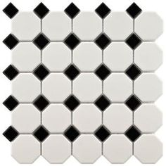 Merola Tile Metro Octagon Matte White and Black 11-1/2 in. x 11-1/2 in. x 5mm Porcelain Mosaic Floor and Wall Tile (9.2 sq.ft./case)-FXLM2OWD at The Home Depot