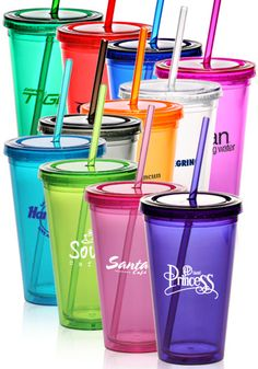 LOVE these, cheap!! and clear, http://www.discountmugs.com/nc/view-product/PG163/16-oz-clear-double-wall-acrylic-tumbler-with-color-straw/