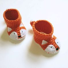 Animal Baby Booties - Crochet Fox Baby Shoes - Fox Themed Baby Shower Gift - Fox Newborn Photo Prop - Gender Neutral Baby Gift