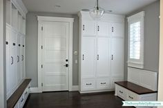 Sunny Side Up: organized mudroom - built-in cabinets (locker style) with drawers below for shoes.