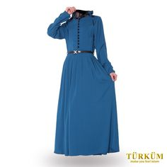 This light blue dress will definitely give you an elegant and royal feeling.  The long flowing skirt and black collar add to the beauty of the outfit.  You'll never go around with this as your outfit of worship.