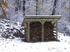 off the grid wood shed, with the metal roof to help collect rain water for your garden. Firewood Shed, Firewood Storage, Outdoor Projects, Wood Projects, Outdoor Living, Outdoor Decor, Cabins In The Woods, Metal Roof, The Ranch