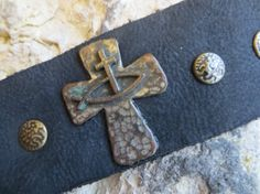 Leather Cuff Bracelet Black Vintage Cross Mens by ToZenAndBack