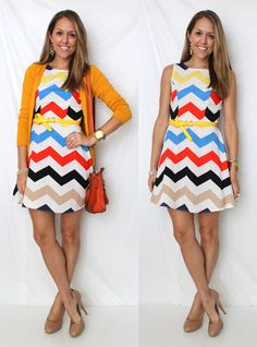 Love the colorful chevron dress - makes me think of a much happier Charlie Brown