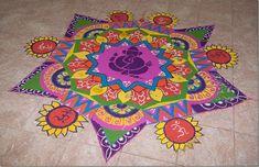 Ganpati Rangoli Designs: Latest Ganesha Rangoli Designs for 2013 Lebensstil Rangoli Designs Peacock, Rangoli Designs Latest, Rangoli Patterns, Rangoli Designs Diwali, Beautiful Rangoli Designs, Latest Rangoli, Peacock Pattern, Pattern Art, Art Patterns
