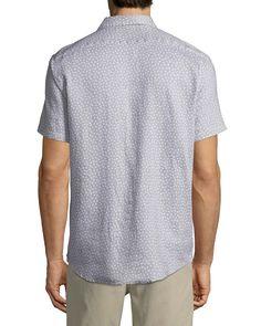 d1c9316b9acbb Michael Kors Men s Short-Sleeve Printed Linen Button-Down Shirt Michael  Kors Men