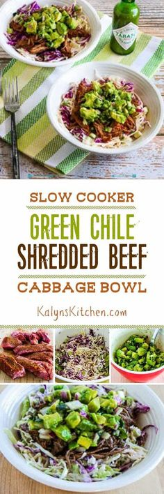 I love this Slow Cooker Green Chile Shredded Beef Cabbage Bowl with Avocado Salsa, and this amazing recipe is low-carb, gluten-free, South Beach Phase One, and it can even be Paleo!  [found on KalynsKitchen.com] #SlowCooker #PressureCooker #SpicyShreddedBeef #LowCarb #Keto #GlutenFree #SouthBeachDiet #CanBePaleo