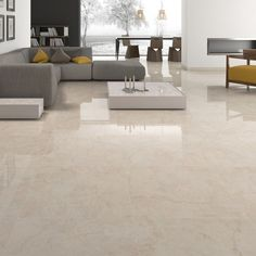 Imperial marble effect porcelain tiles are a high gloss tile which will look stunning in contemporary open plan living areas. As with all gloss tiles they are prone to being slippery especially if wet. These beautiful large rectified tiles have a rat Floor Design, Tile Design, Room Tiles, Kitchen Tiles, Living Room Flooring, Tile Living Room, Open Plan Living, Living Area, Living Room Designs