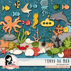 Maby Scrapbook: Kit Digital Fundo do Mar by Vika Matos