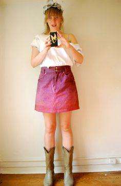 DIY Ombre Denim Skirt. #sew