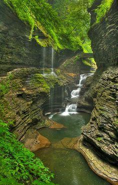 Rainbow Falls in Watkins Glen State Park, New york, USA