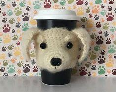 Golden Retriever Mug (Cozy) - Puppy Mug (Cozy) - Crochet Puppy - Funny Dog - Golden Retriever - Doggy Mom - I Love My Dog - Bow Wow