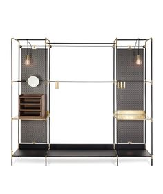 Modular storage made of brass and metal CLIENT: Ivano Redaelli Wardrobe Furniture, Wardrobe Cabinets, Cabinet Furniture, Cool Furniture, Furniture Design, Open Wardrobe, Wardrobe Closet, Walk In Closet, Studio Pepe