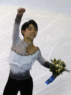 Yuzuru Hanyu after men's free skating program at the Sochi 2014 Winter Olympics