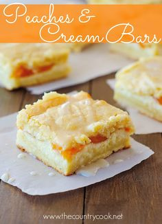 Peaches and Cream Bars recipe from Life in the Lofthouse and The Country Cook. Layers of goodness right here! Love that I can switch out the pie filling for any flavor of pie filling to switch these up!