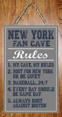 "New York Yankees MLB Fan Cave Rules 10""x16"" Art Basement Man Cave Wall Sign"