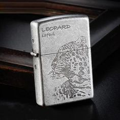 Japanese Antique Silver Small Leopard Zippo Lighter