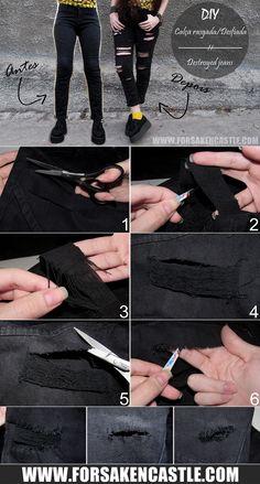 Forsaken Castle | Personal/Style/Diy Blog. : DIY: Destroyed Jeans | Calça Rasgada/Desfiada http://www.forsakencastle.com/2015/07/diy-destroyed-jeans.html and https://www.youtube.com/user/ForsakenCastle