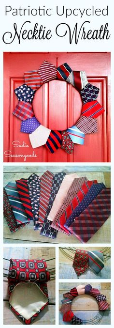 Creating a DIY patriotic July 4th wreath is just a thrift store away! Using repurposed neckties in red, white, and blue, you can easily put together some festive door decor for Memorial Day, July 4th, or any time of year to celebrate America! #SadieSeasongoods / www.sadieseasongoods.com