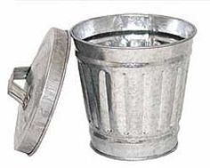 galvanized metal trash can