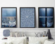 Set of 3 Prints, Print Set, Minimalist Poster, Art Set, Zen Art, Boho Art, Downloadable Prints, Printable Art, Blue, Indigo, Succulents, Art