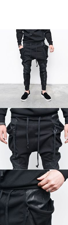 a444a366a57ee Bottoms    Crack Coated Biker Seaming Big Pocket Baggy-Sweatpants 175 - Mens  Fashion Clothing For An Attractive Guy Look