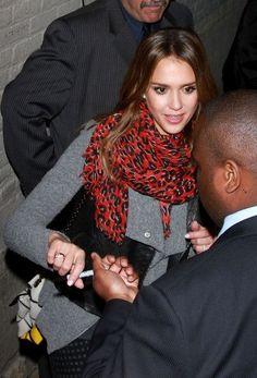 Jessica Alba in a red leopard scarf