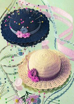 PDF Victorian Dolls Hat & Pin Cushion Crochet Pattern Easter