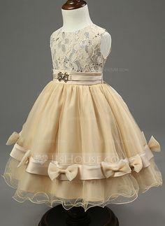 Vestidos princesa/ Formato A Comprimento médio Vestidos de Menina das Flores - Combinação de algodão Sem magas Decote redondo com…