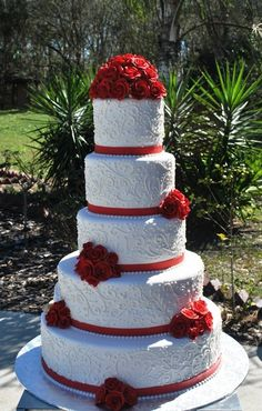 Red and White-Wedding Cake-Lace and flowers- The Cake Zone, www.thecakezone.com