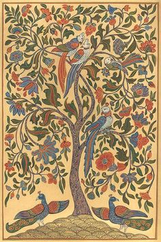 I'm going to paint a Tree of Life somewhere in my house. Looking for inspiration. I really like this Indian version.: