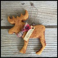 Rustic Grubbied Salt Dough Moose Ornament