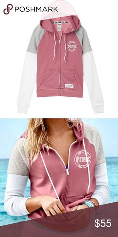 ❌SOLD❌ Victoria's Secret Pink Zip Up Soft Begonia Pink by Victoria's Secret, Size X-Small/Small, colorblock white/grey/soft begonia. Never worn but tags taken off.  ✨BUNDLE WITH MY OTHER VICTORIA'S SECRET ITEMS TO SAVE✨ PINK Victoria's Secret Jackets & Coats