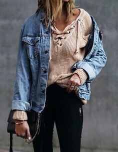 lace up sweater + denim jacket