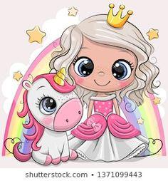 Cute Cartoon fairy tale Princess and Unicorn. Greeting Card with Cute Cartoon fairy tale Princess and Unicorn royalty free illustration Cartoon Cartoon, Cartoon Unicorn, Cute Cartoon Girl, Cute Cartoon Pictures, Unicorn Drawing, Unicorn Art, Cute Unicorn, Cartoon Elephant, Unicorn Pictures